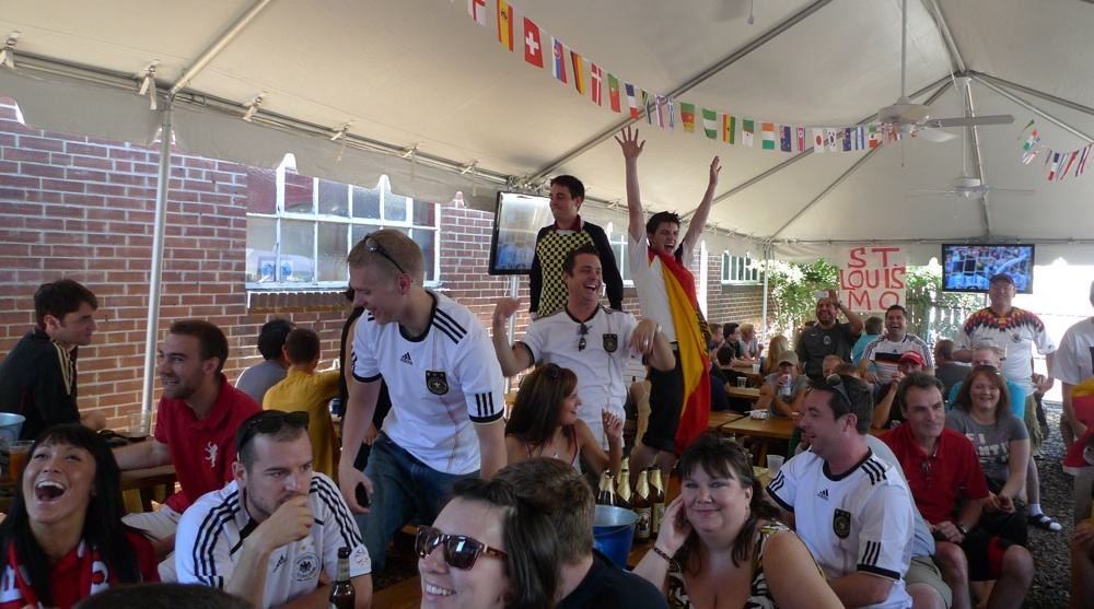 Kevin is the guy on the right with his arms raise. He and the other German fans got to do a lot of this.