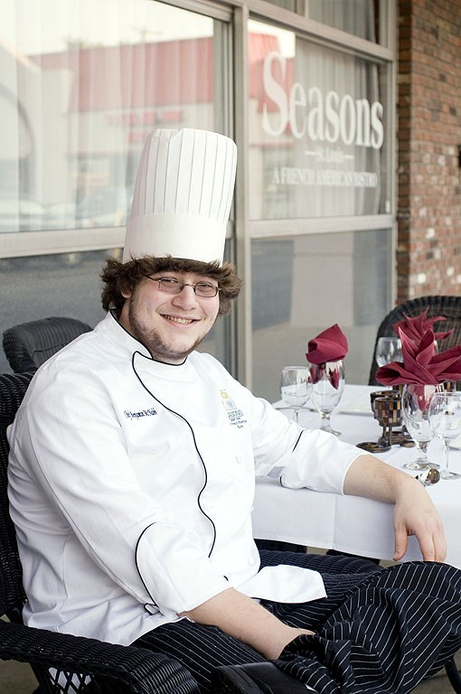 """Co-chef Benjamin McNabb relaxing, if only for a brief moment, on the """"patio"""" of Seasons St. Louis in Chesterfield. See more photos from Seasons St. Louis here. - PHOTO: JENNIFER SILVERBERG"""