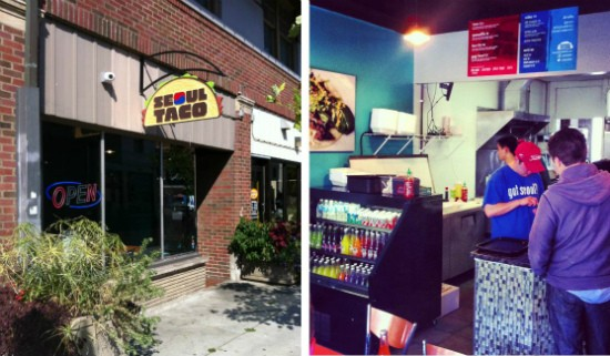 The exterior (left) and interior (right) of Seoul Taco's new brick-and-mortar restaurant. - RFT PHOTOS