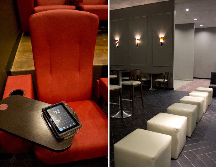 (Left) You're never more than a seat away from the aisle in these posh seats. (Right) Part of the lounge-like area at the bar. - MABEL SUEN