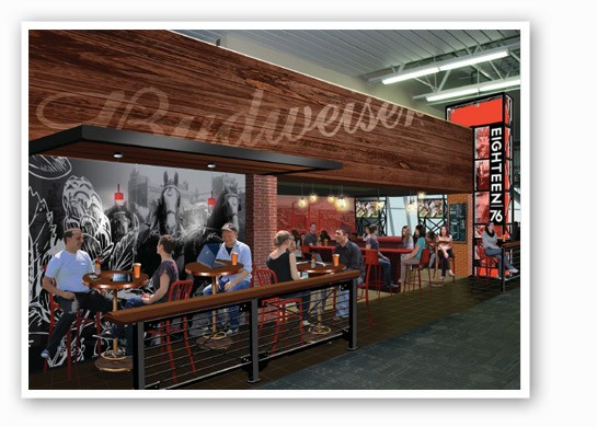 A rendering of the new Eighteen-76 restaurant and bar.   HMS Host
