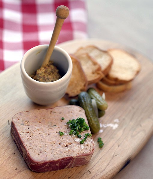 One of the hors d'oeuvres is the country pâté. Served with grain mustard. See full slideshow here. - PHOTO: JENNIFER SILVERBERG