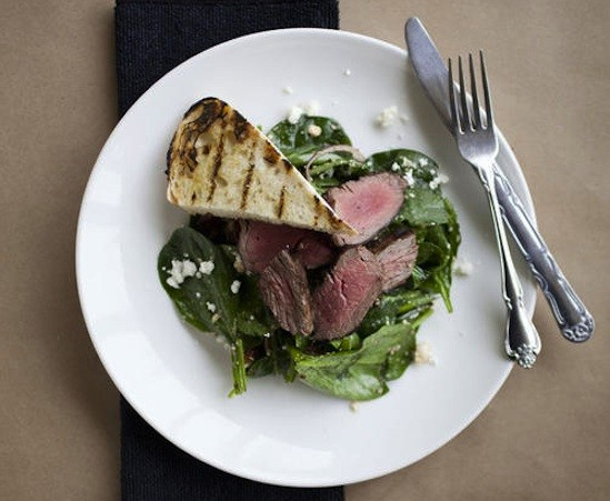 Steak and spinach salad at Mathew's Kitchen - JENNIFER SILVERBERG