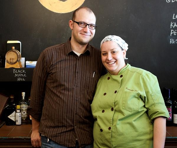 Husband and wife owners of Home Wine Kitchen, Josh Renbarger and Cassy Vires. - JENNIFER SILVERBERG