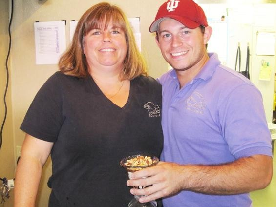 Beckie Jacobs, owner of Serendipity Homemade Ice Cream, with her son, Jason - ROBIN WHEELER