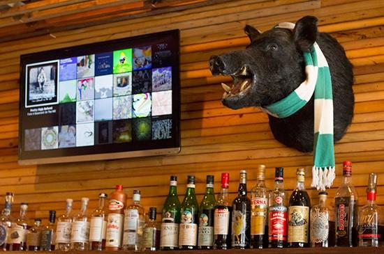 Close-up of the bar.