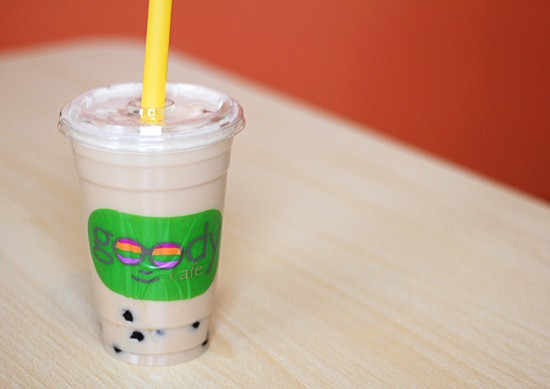 Milk tea with boba.