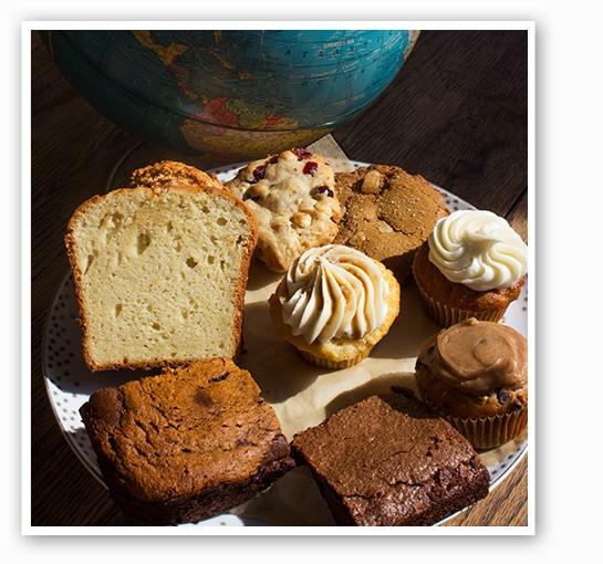 Clockwise from bottom left: Vegan pumpkin brownies, cardamom pound cake, winter cookie, ginger cookie, pumpkin cupcake, vegan pumpkin chocolate chip cupcake, brownie and salty-caramel cupcake. | Mabel Suen