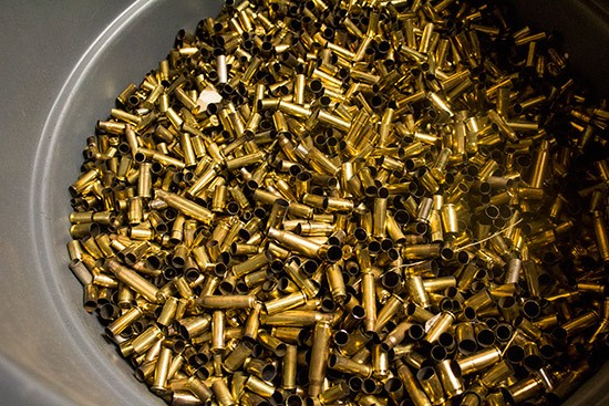 Buckets of bullet casings.