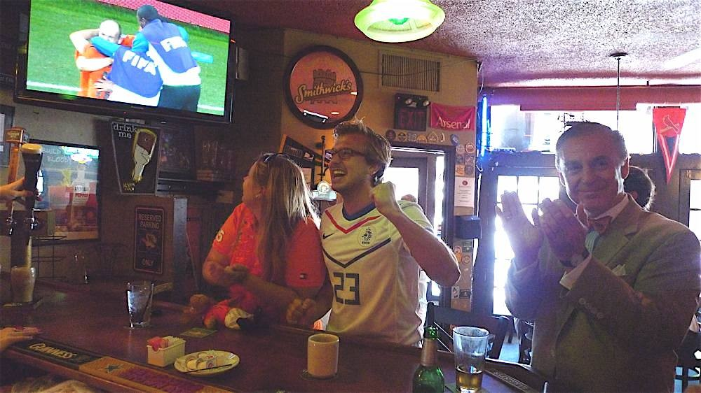 The Dutch fans went wild at Barrister's when their team beat Brazil - PHOTOS BY KEEGAN HAMILTON