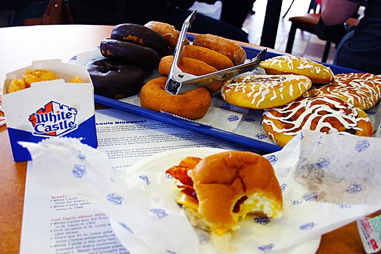 Flight #1: Bacon breakfast slider and hash rounds. Donuts were offered to cleanse the palate. - KATIE MOULTON