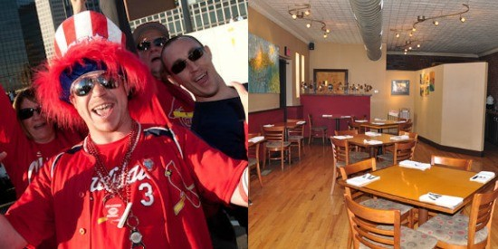 Cardinals fans would rather GO CRAZY than have a quiet, civilized dinner at Stellina. - JON GITCHOFF AND TARA MAHADEVAN