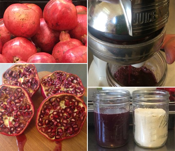 Getting ready to make grenadine: (left) pomegranates; (right) jucing and measuring. | Patrick J. Hurley