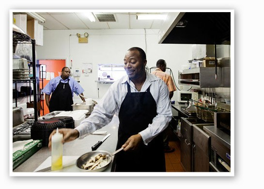 Owner DeMarco Howard in Gobble Stop's kitchen. | Jennifer Silverberg