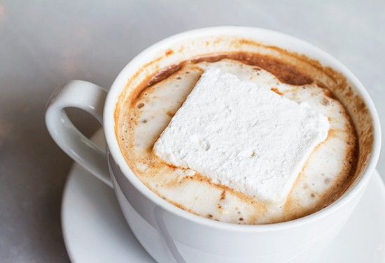 Have your dessert with a hot chocolate, complete with a housemade marshmallow.