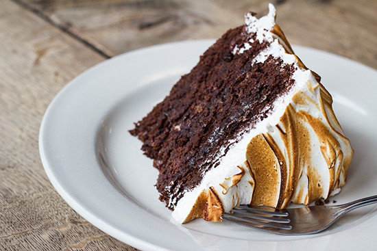 Chocolate layer cake with caramel sauce filling and toasted espresso meringue. - PHOTOS BY MABEL SUEN