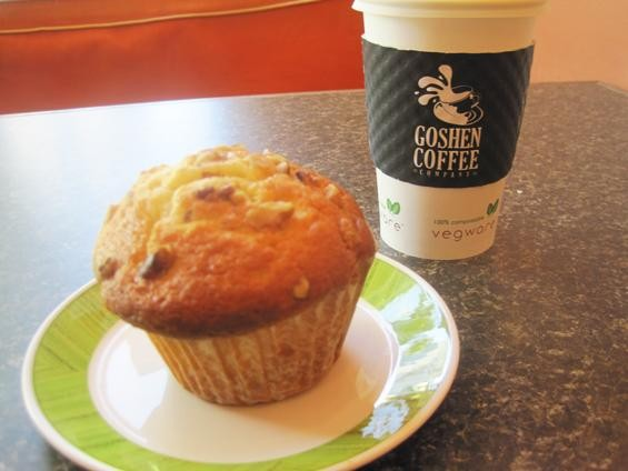 Coffee and a cranberry-walnut muffin at 222 Artisan Bakery - IAN FROEB