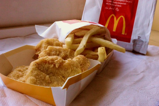 The four-piece chicken McNugget Happy Meal at McDonald's -- served, inexplicably, without a toy. - LIZ MILLER