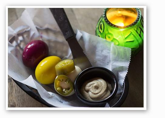 A basket of pickled eggs. | Mabel Suen