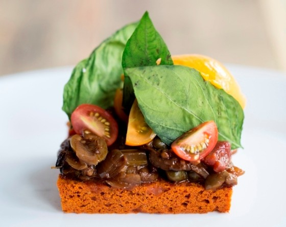 Tomato Toast with caponata, crispy Such and Such Farm basil, Sungold cherry tomatoes and uni sorbet. | Jennifer Silverberg