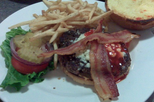 "The ""Chuck Berry Blues Burger,"" which is, according to the menu, ""topped with Blue cheese, bacon and spicy Buffalo sauce."""