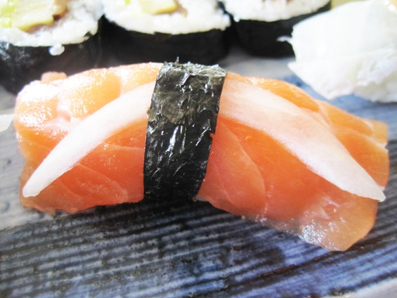 The sake (salmon) nigiri sushi at Nobu's Japanese restaurant - IAN FROEB