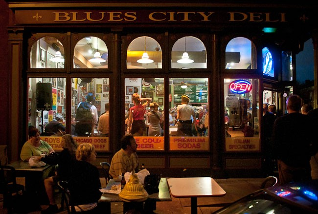 The view from outside Blues City Deli on Thursday evening. - BRIAN HEFFERNAN