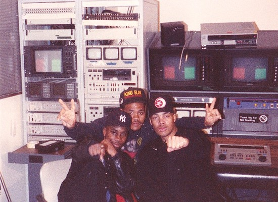 G. Wiz (center) with rapper Paris and DJ Mike at the Double Helix Studio in 1991. - COURTESY OF G. WIZ