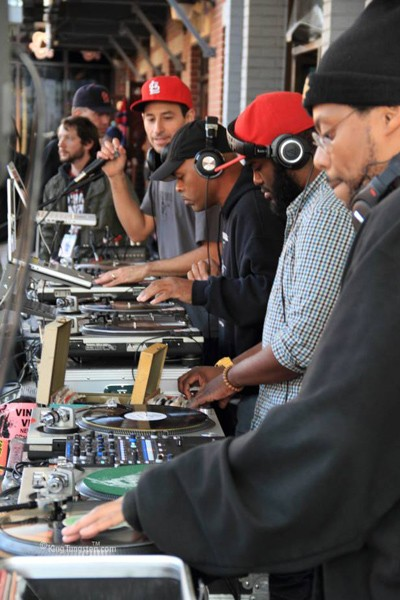 The Turntable Orchestra -- DJ Alejan, G. Wiz, Nappy DJ Needles and Fly D-Ex at Vintage Vinyl. - COURTESY OF G. WIZ
