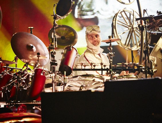 "Primus drummer Tim Alexander channels ""Mike Teevee"" from Willy Wonka & the Chocolate Factory. See more photos here. - THEO WELLING"