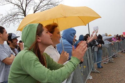 It rained steadily throughout the protest. - PHOTO: DAVID WALTHALL