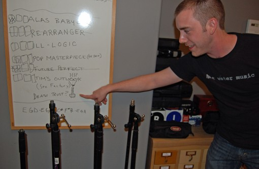 Bryan Clarkson of the Humanoids points at a recording to-do list.