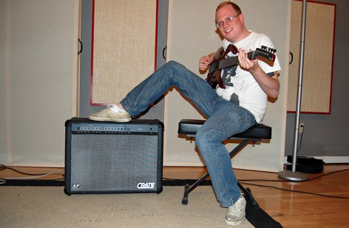 Zimmerman playing the best guitar, and the worst amplifier, available for artist use at Firebrand Recordings.