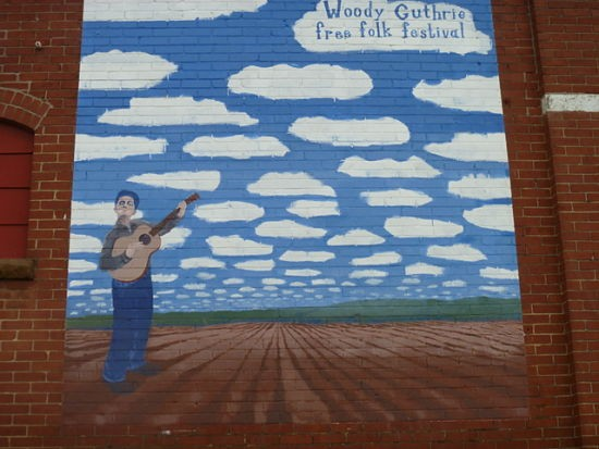 A mural in Guthrie's childhood hometown of Okemah, Oklahoma - AIMEE LEVITT