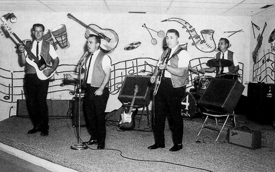 The Four Vests, a popular local band in Southern Illinois, whom George accompanied for a few performances. - COURTESY ACCLAIM PRESS
