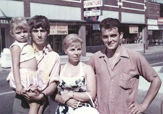 Brothers George and Peter Harrison visit their sister Louise in Benton, Illinois, in 1963. - COURTESY ACCLAIM PRESS