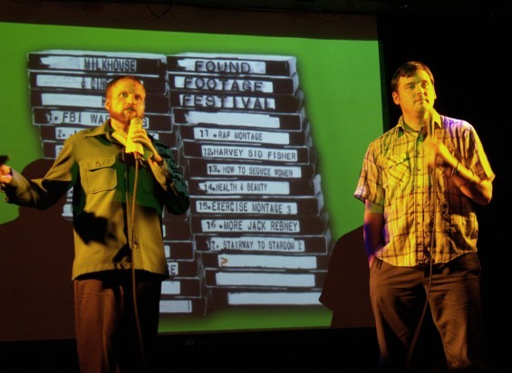 Hosts Nick Prueher and Joe Pickett share wacky VHS stories during a Found Footage Festival show. - COURTESY OF THE FOUND FOOTAGE FESTIVAL