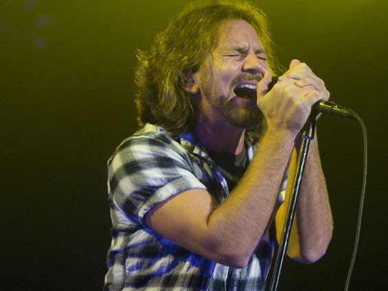 Eddie Vedder of Pearl Jam last night at the Scottrade Center. See a full slideshow from the Pearl Jam show at the Scottrade Center here. - PHOTO: JON GITCHOFF