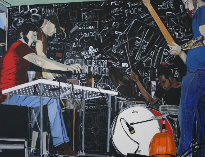 N. Nomurai at the Way Out Club, painting by Dana Smith