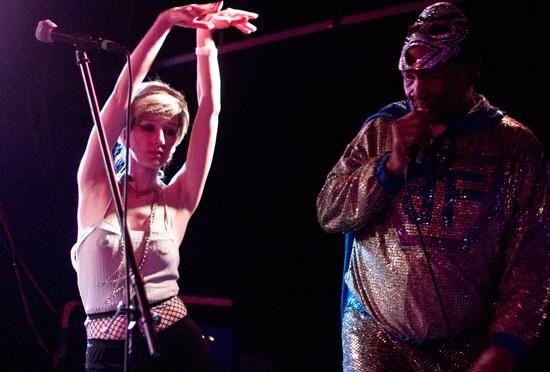 Borrowed back-up dancer Melanympha Meatbeat. - MABEL SUEN