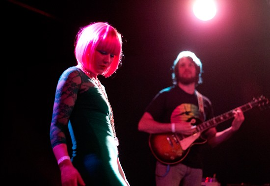Local artists Blyre Cpanx and Mikey Wehling lend their talents to Blowfly's set. - MABEL SUEN