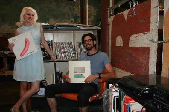 Sleepy Kitty, with their record collection - JON SCORFINA
