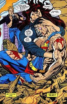 SUPERMAN DIES IN LOIS LANE'S ARMS. ART BY DAN JURGENS AND BRETT BREEDING