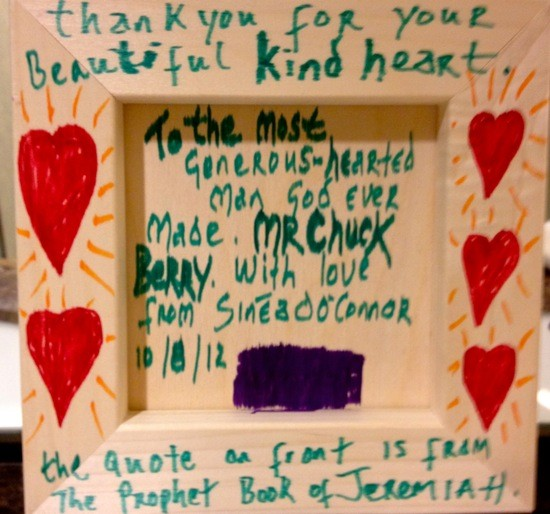 The back of a painting O'Connor gave Chuck Berry this week in St. Louis. The front is below. - COURTESY OF SINEAD O'CONNOR