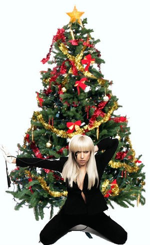 click to enlarge now thats what i call christmas lady gaga under the tree image via