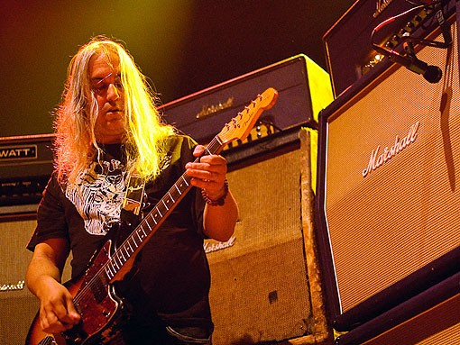 J Mascis of Dinosaur Jr. in front of his stack of Marshall cabinets. See more photos from last night's show. - PHOTO: JASON STOFF