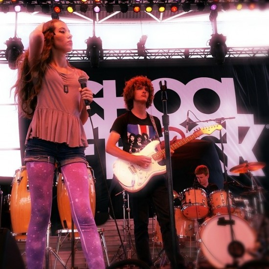 School of Rock students perform on one of the massive Summerfest stages.