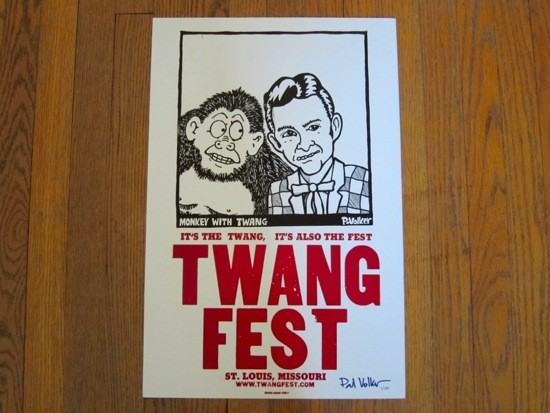 A POSTER FROM A TWANGFEST GONE BY, SIGNED BY CREATOR P. VOLKER
