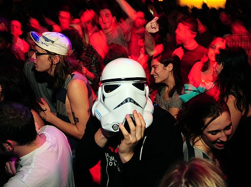 The floor at the Gramophone. Killer Storm Trooper helmet. See a full slideshow from last night here. - PHOTO: EGAN O'KEEFE