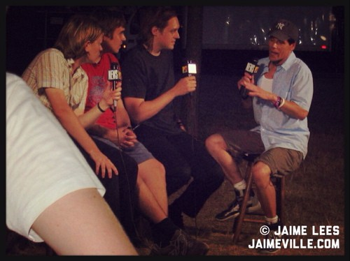 Arcade Fire being interviewed backstage at Lollapalooza 2005 by John Norris of MTV - JAIME LEES